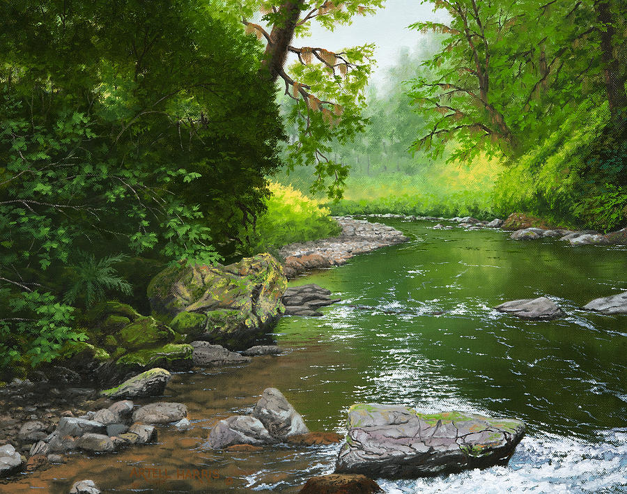 Below Drift Creek Falls Painting by Artell Harris