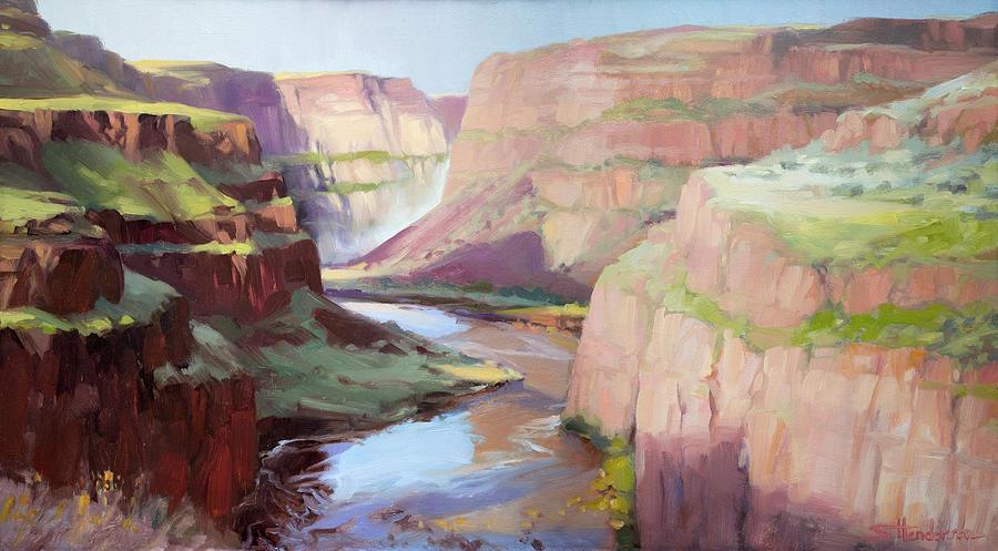 Waterfall Painting - Below Palouse Falls by Steve Henderson