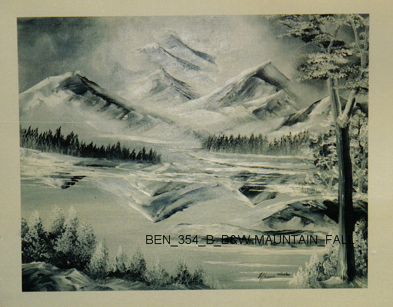 Scenery Painting - Ben-354 B-w Mountain-fall by Benito Alonso