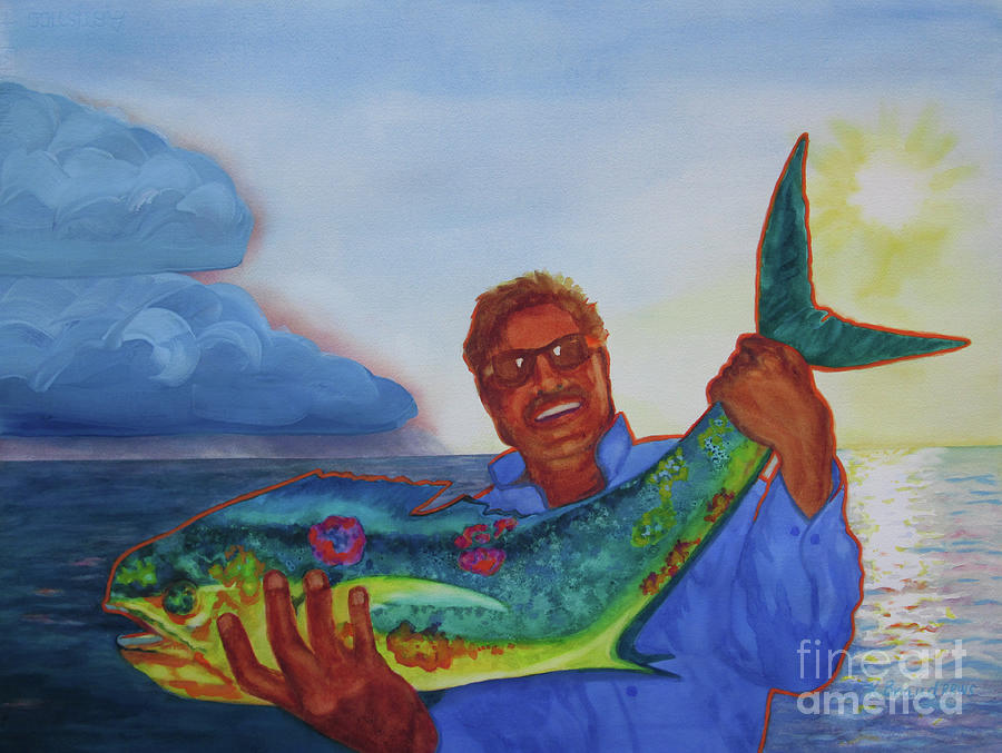 Paintings Painting - Ben And The Dolphin Fish by Kathy Braud