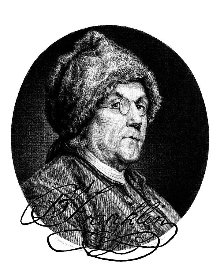 Black Digital Art - Ben Franklin Autographed by John Feiser