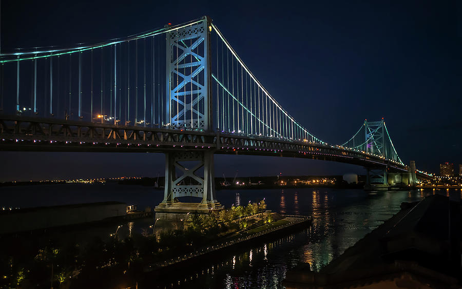 Scenic Photograph - Ben Franklin Bridge In Philadelphia At Night by William Bitman