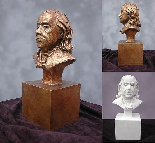 Ben Franklin Sculpture - Ben Franklin Portrait Bust by John Gibbs
