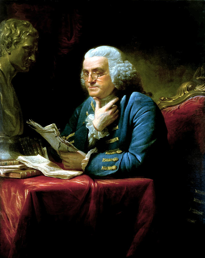 Benjamin Franklin Painting - Ben Franklin by War Is Hell Store