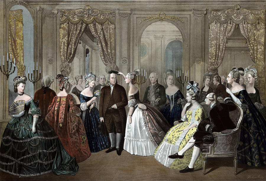 Benjamin Franklin Painting - Ben Franklins Reception At The Court Of France  by War Is Hell Store