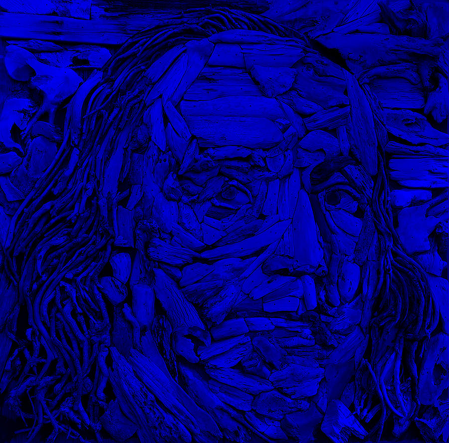 Ben Franklin Photograph - Ben In Wood Blue by Rob Hans