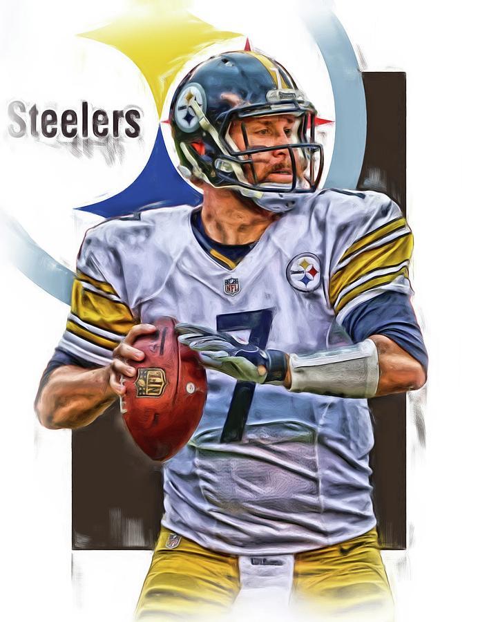 Ben Roethlisberger Mixed Media - Ben Roethlisberger Pittsburgh Steelers Oil Art by Joe Hamilton