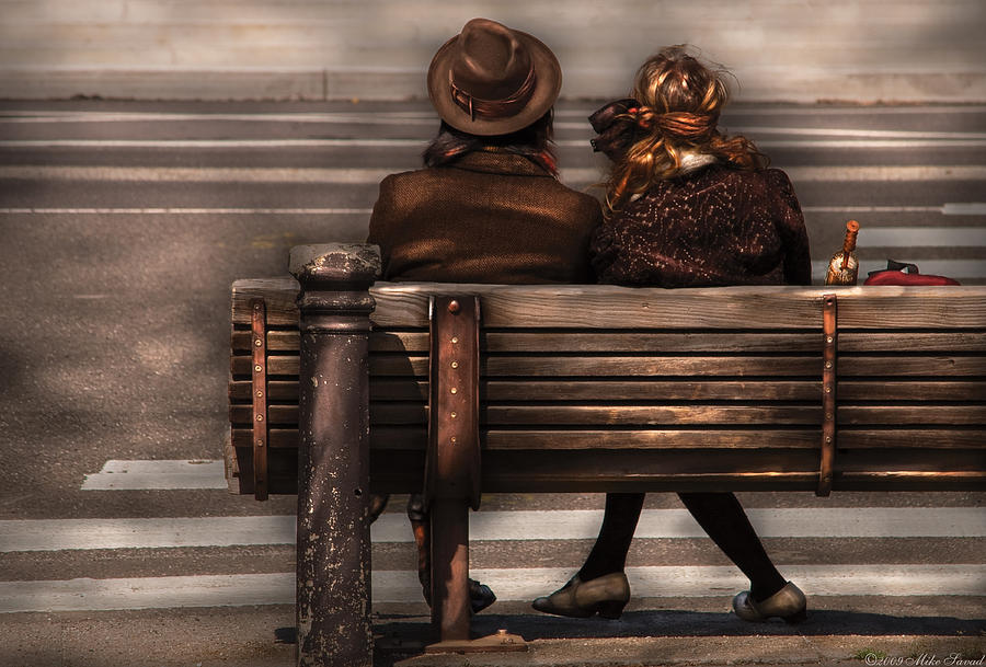 Steampunk Photograph - Bench - A Couple Out Of Time by Mike Savad