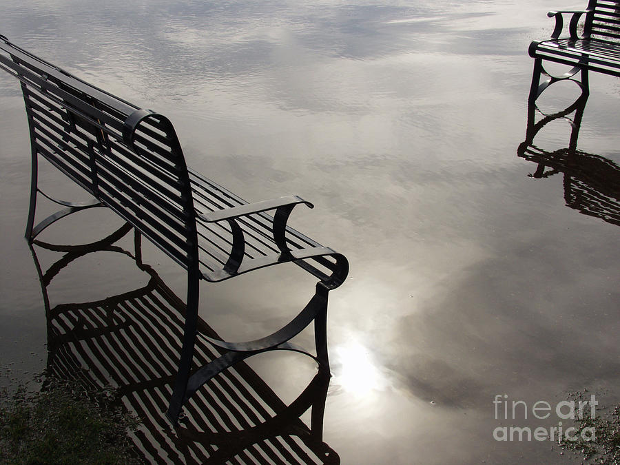 Bench In The Clouds Photograph