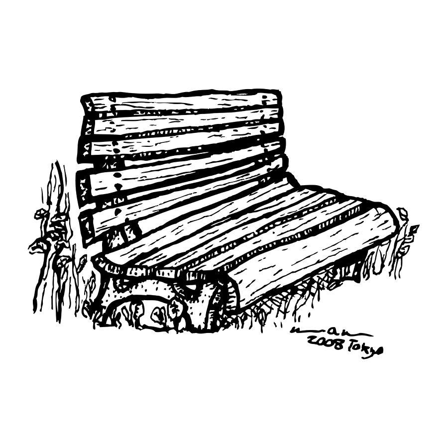 Illustration Drawing - Bench by Karl Addison