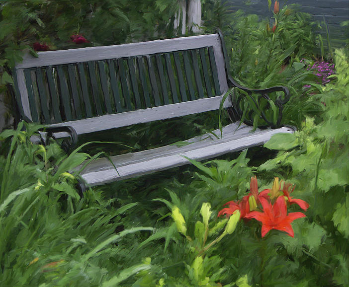 Landscape Digital Art - Bench On Commercial Street by Jim Stafford