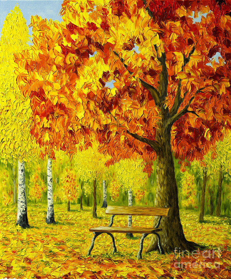 Bench Under The Maple Tree Painting By Veikko Suikkanen