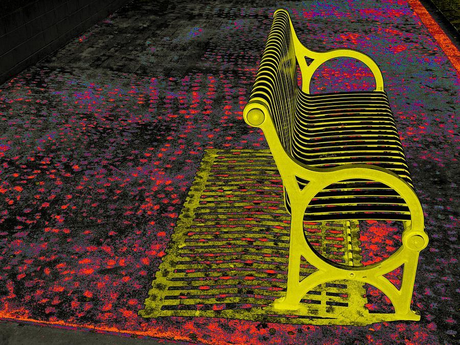 San Antonio Photograph - Bench With Gold Shadow by Edgar Farrera
