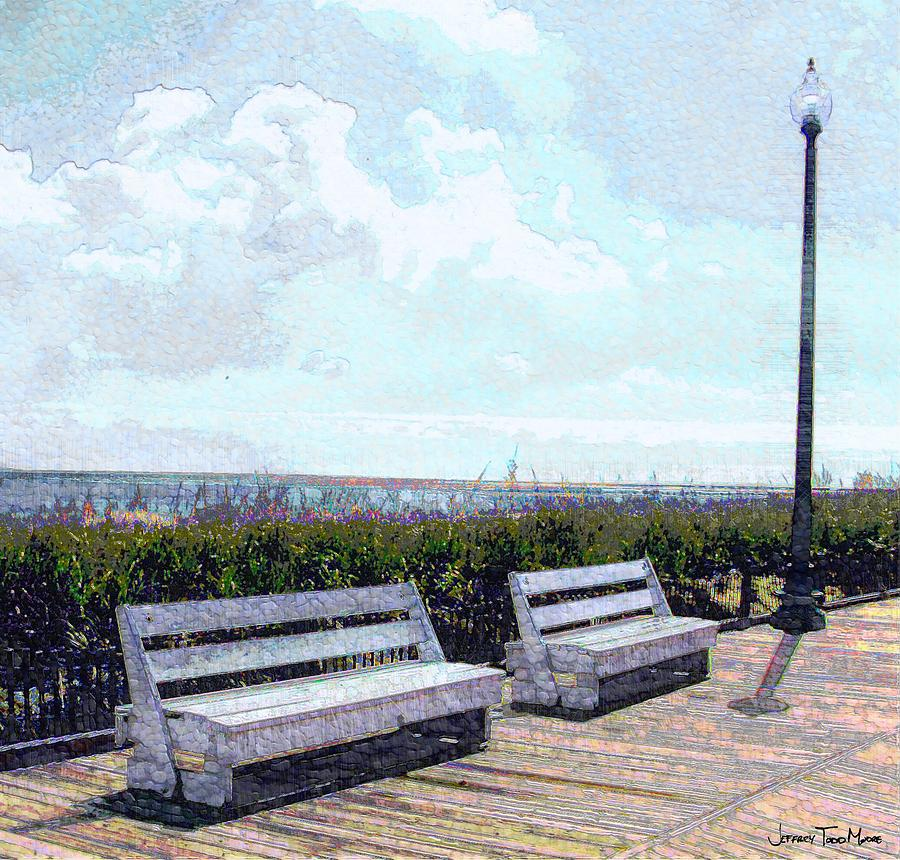Landscape Photograph - Benches Boardwalk And Lamppost 1 by Jeffrey Todd Moore