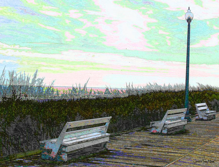 Cyan Photograph - Benches Boardwalk And Lampposts 2 by Jeffrey Todd Moore