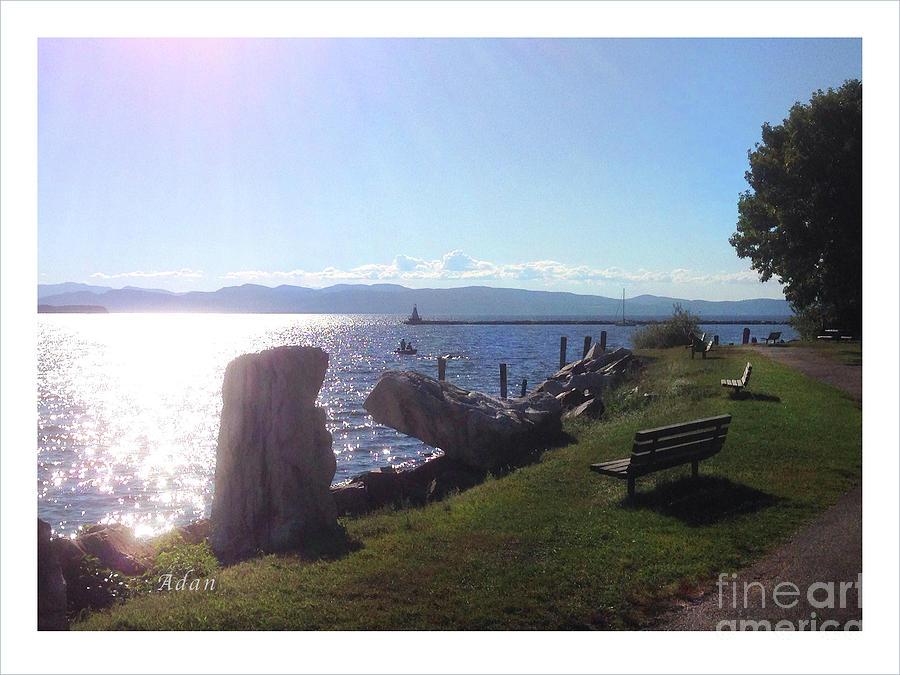 Lake Champlain Photograph - Benches Water Sun And Boat by Felipe Adan Lerma