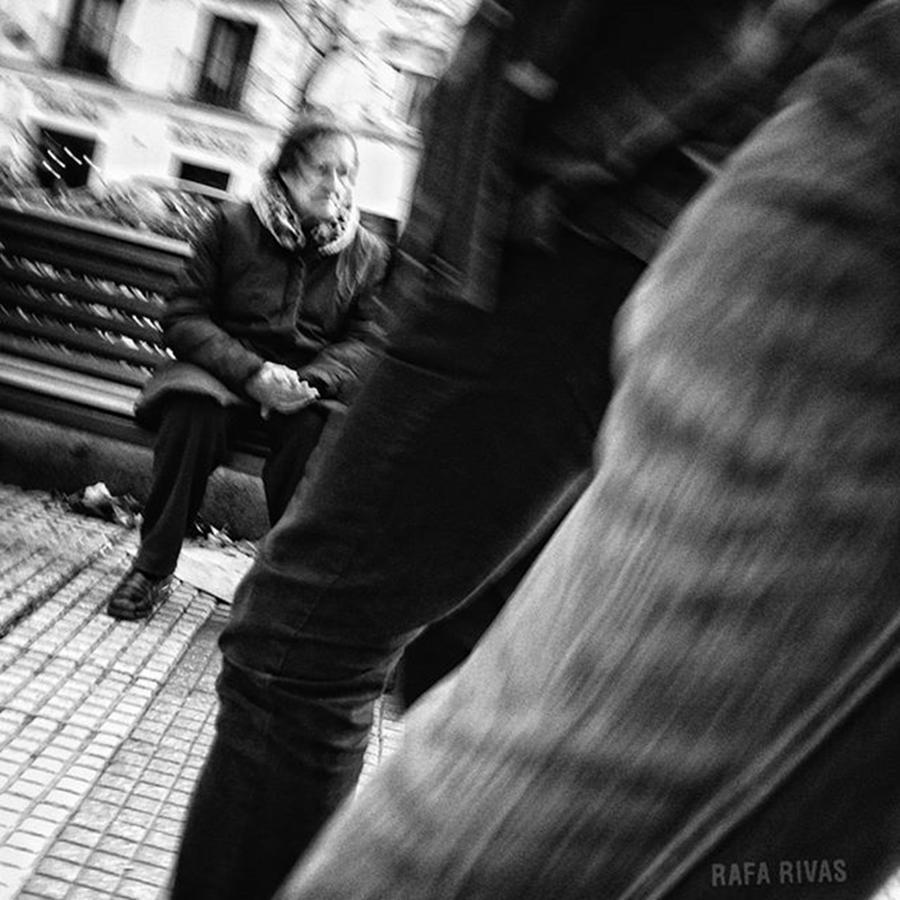 People Photograph - Benchwarmer  #womam #bench #people by Rafa Rivas