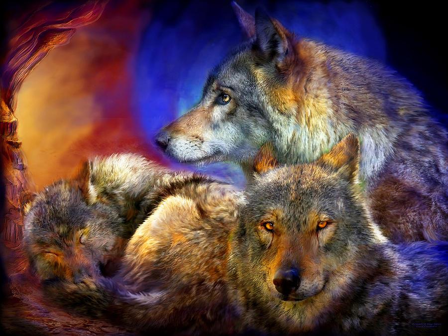 Wolf Mixed Media - Beneath A Blue Moon by Carol Cavalaris