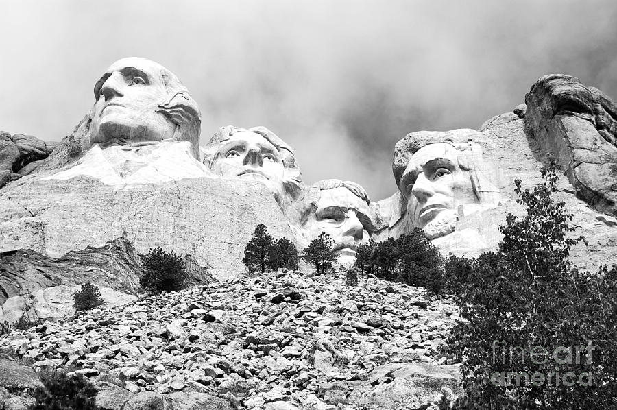 South Dakota Photograph - Beneath Mount Rushmore National Monument South Dakota Black And White by Shawn OBrien