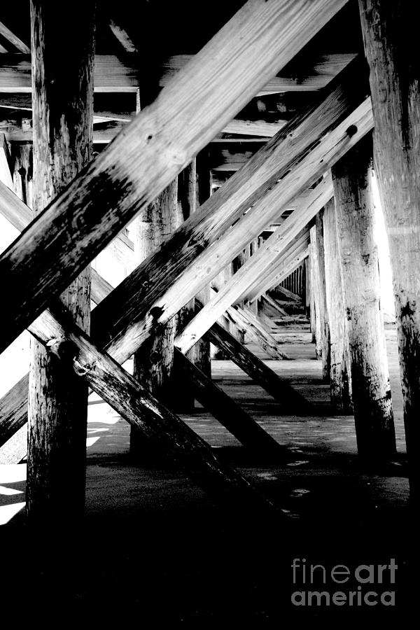 Black Photograph - Beneath The Docks Night by Jamie Lynn