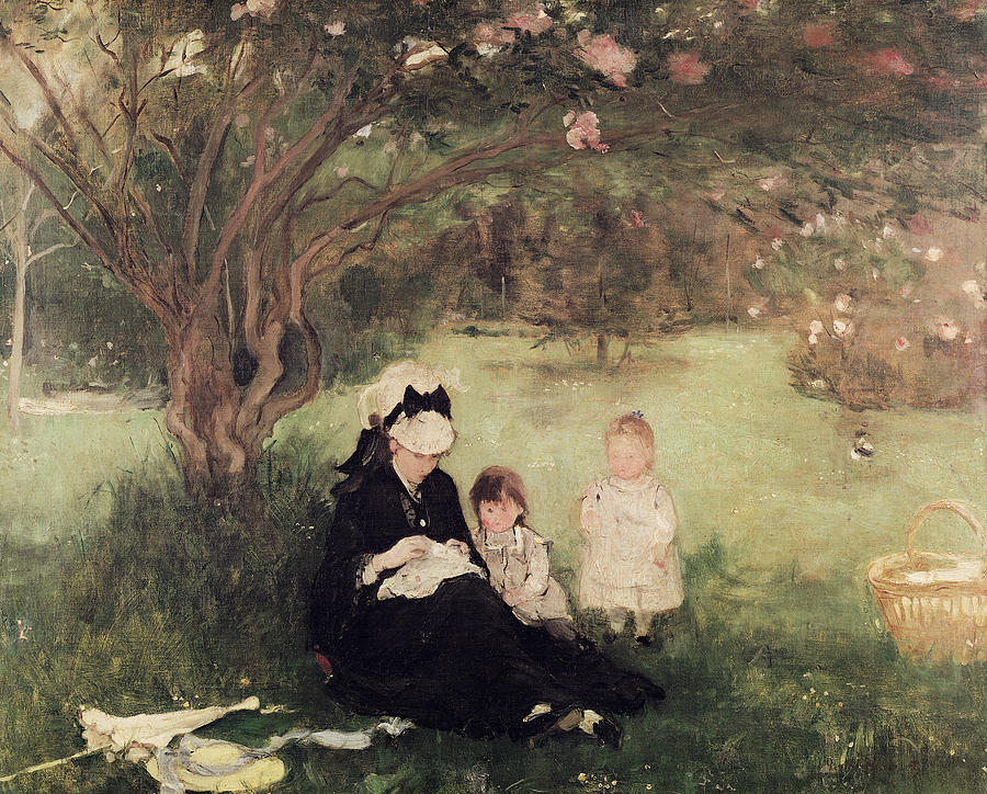 Beneath Painting - Beneath The Lilac At Maurecourt by Berthe Morisot