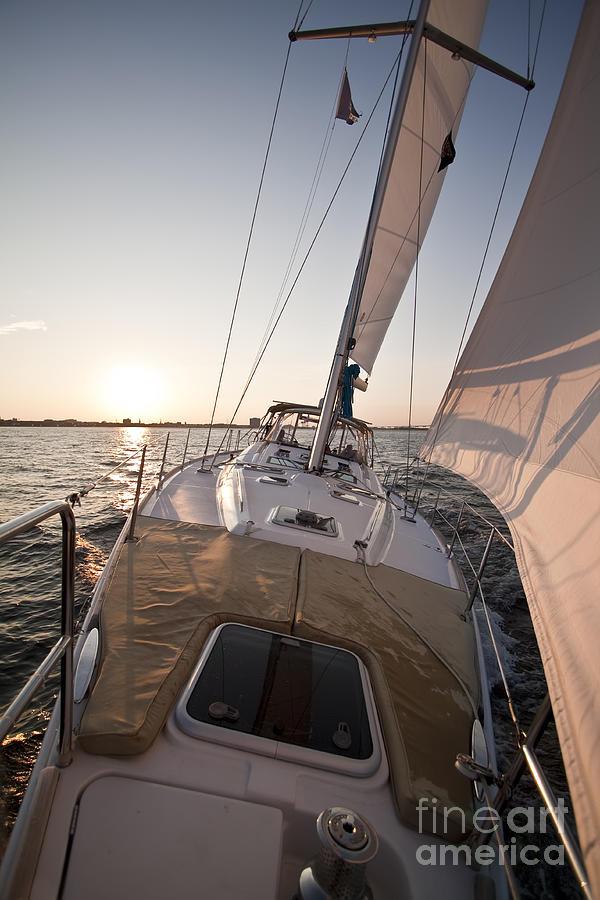 Sailing Photograph - Beneteau 49 Sailing Yacht Close Hauled Charleston Sunset Sailboat by Dustin K Ryan