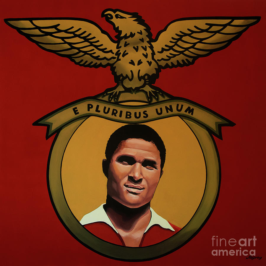 Eusebio Painting - Benfica Lisbon Painting by Paul Meijering