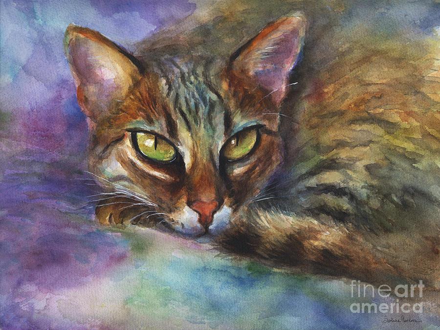 Bengal Cat Painting - Bengal Cat Watercolor Art Painting by Svetlana Novikova