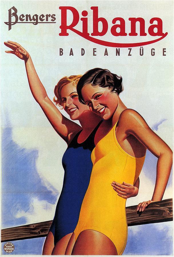 Bengers Ribana Badeanzuge - Vintage Swimsuit Advertising Poster Mixed Media