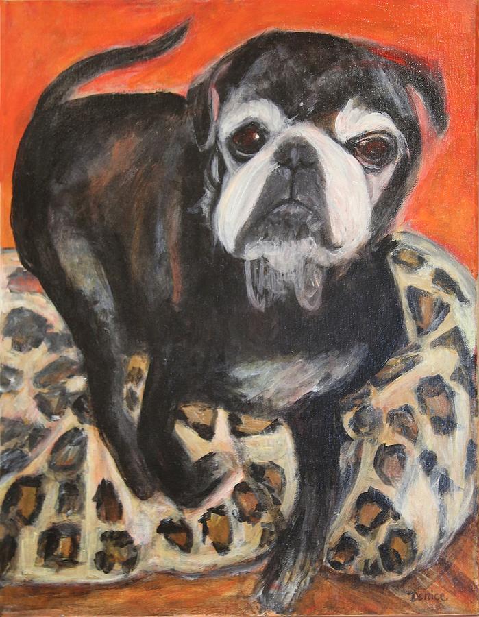 Pug Painting - Bennie The Pug by Denice Palanuk Wilson