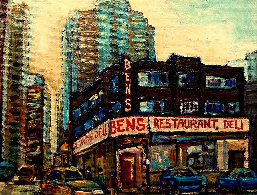 Montreal Painting - Bens Restaurant Deli by Carole Spandau