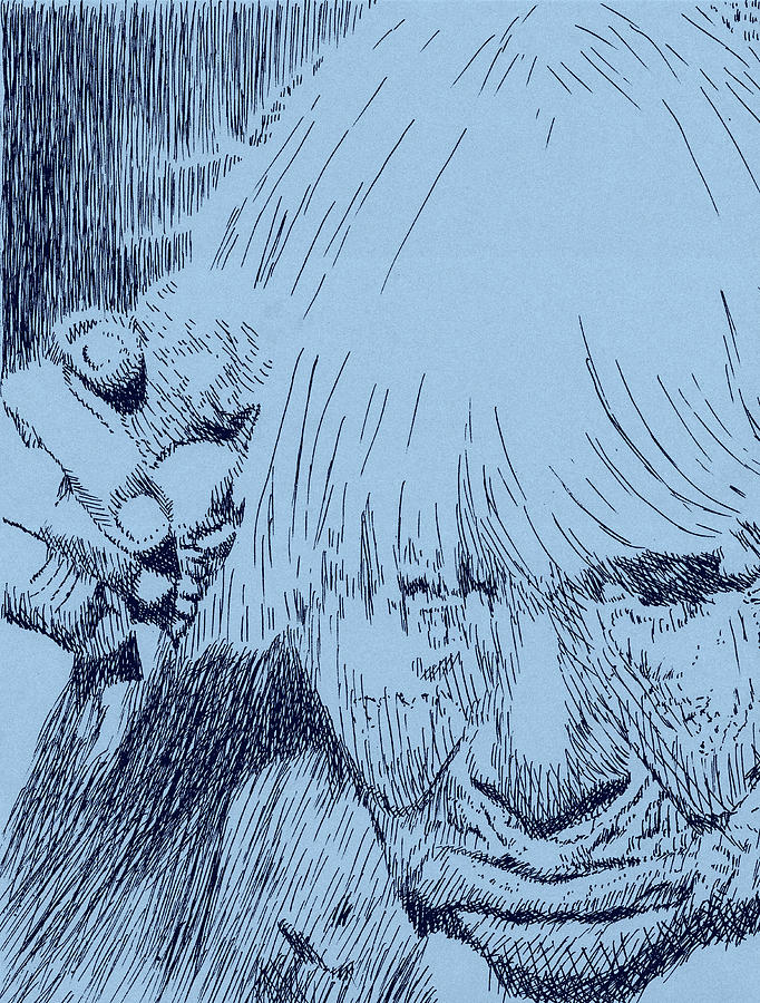 Pen Drawing - Bent But Unbroken by Robbi  Musser