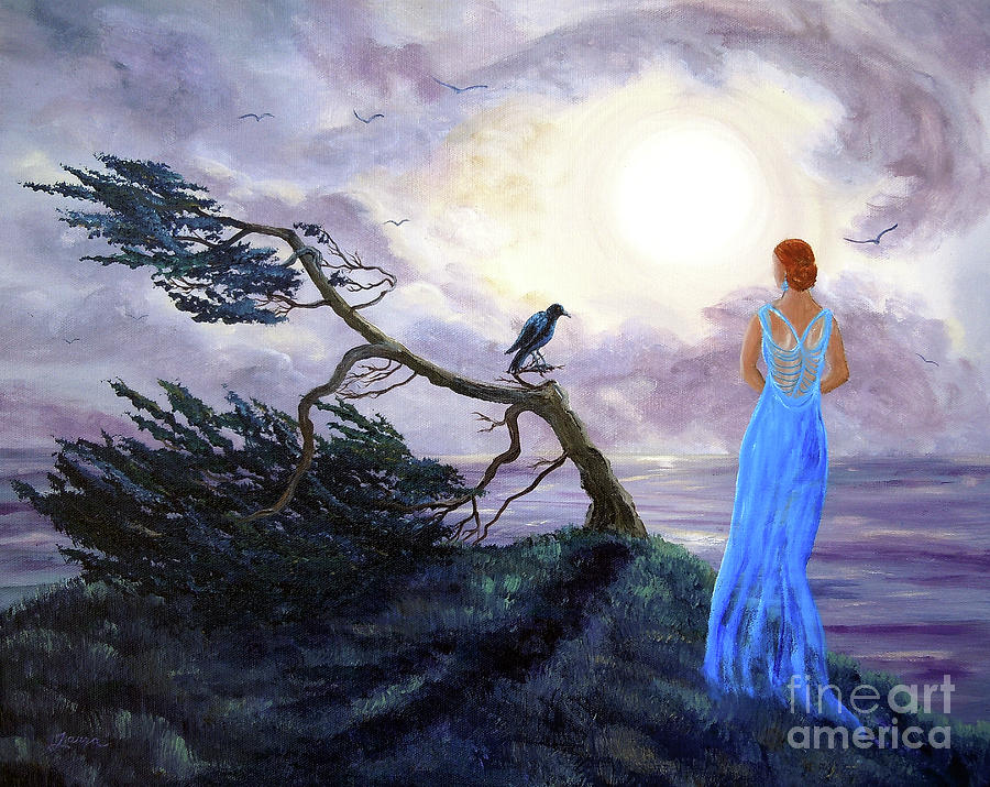 Half Moon Bay Painting - Bent Cypress And Blue Lady by Laura Iverson