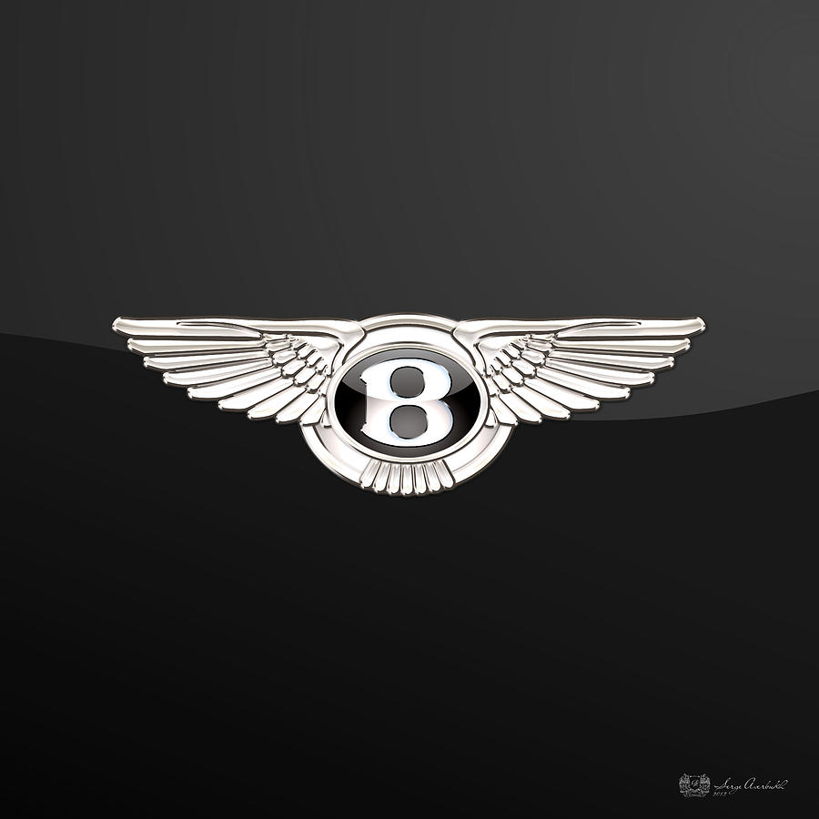 Bentley Logo Photograph - Bentley - 3 D Badge On Black by Serge Averbukh