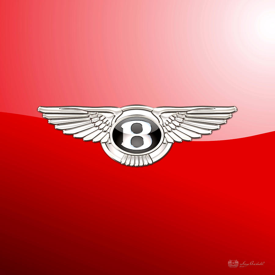 Car Photograph - Bentley 3 D Badge On Red by Serge Averbukh