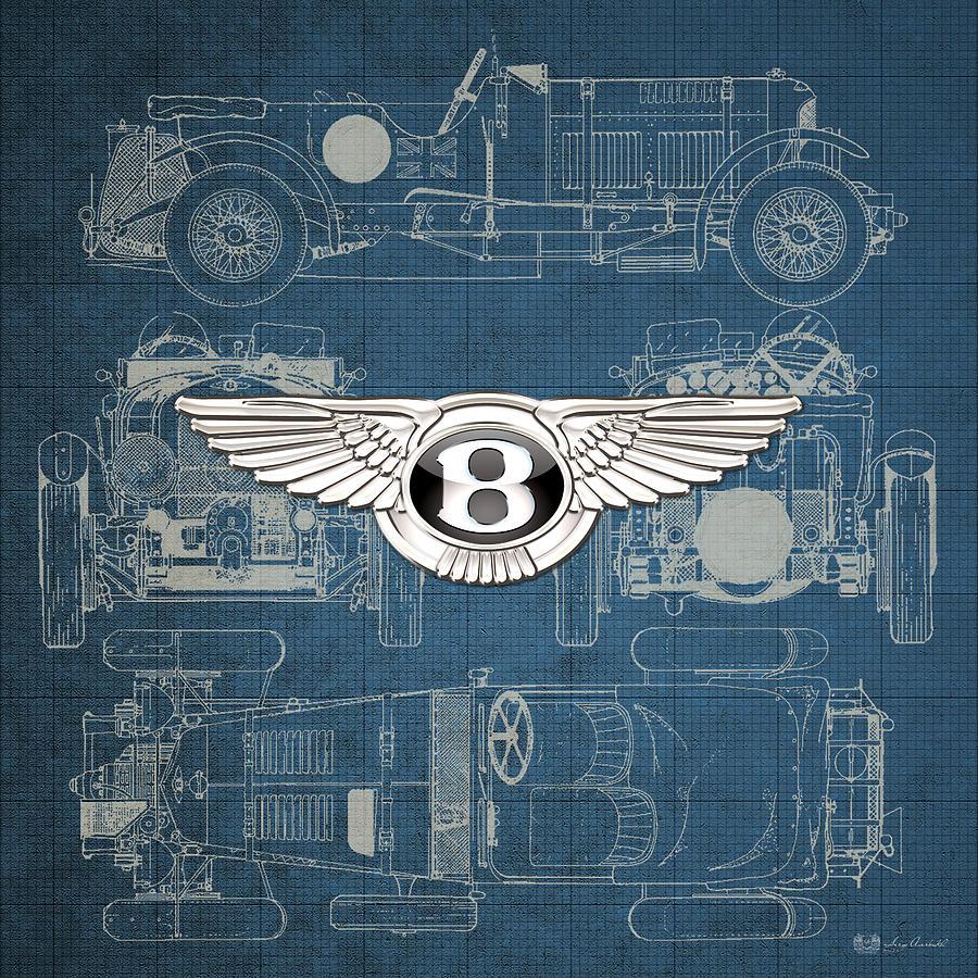 Bentley 3 d badge over 1930 bentley 45 liter blower vintage car digital art bentley 3 d badge over 1930 bentley 45 liter blower vintage malvernweather Images