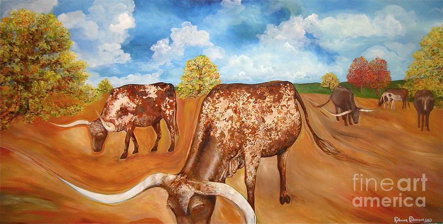 Longhorns Painting - Benton Hwy 165 Longhorns  by Rebecca Robinson