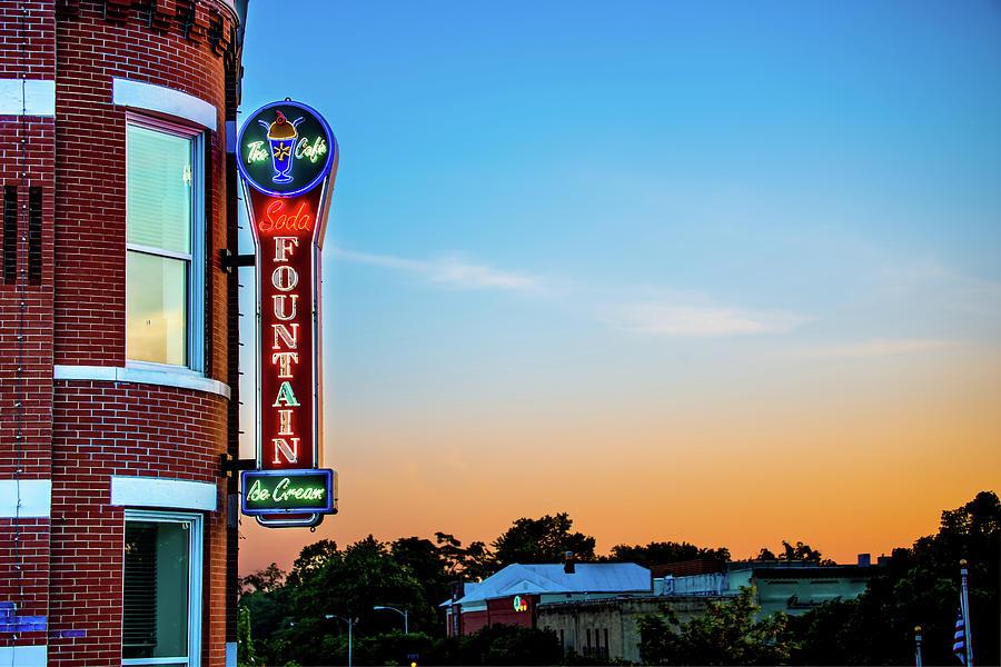 Bentonville Old Time Soda Fountain Neon At Dawn Photograph