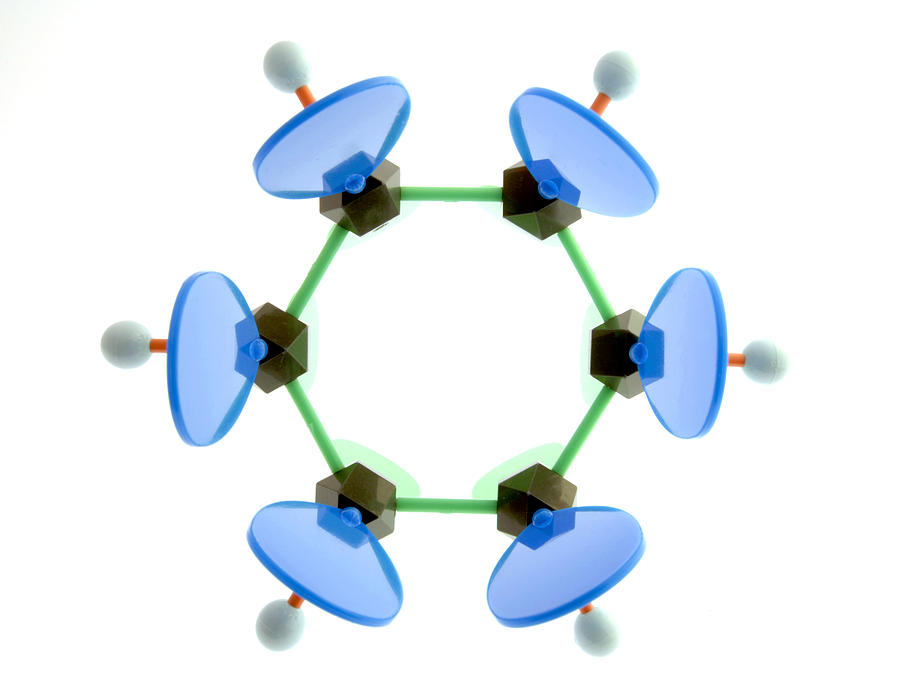 Phenyl Photograph - Benzene Molecule by Lawrence Lawry
