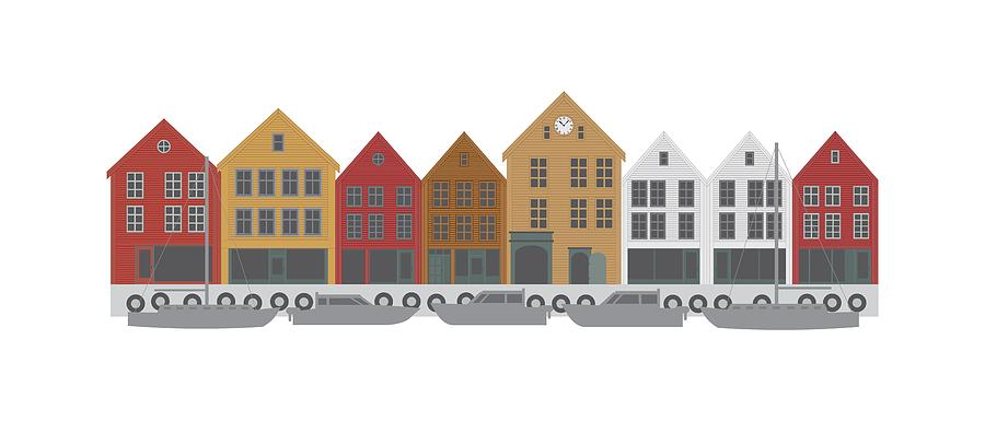 Bergen Norway Downtown Waterfront Illustration by Jit Lim