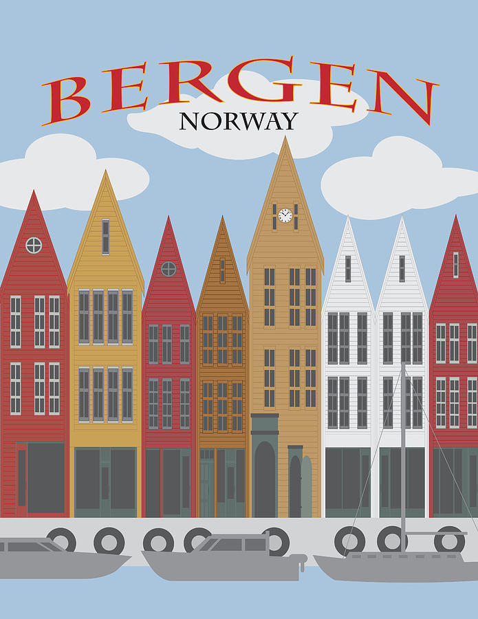 Bergen Norway Downtown Waterfront Poster Illustration by Jit Lim