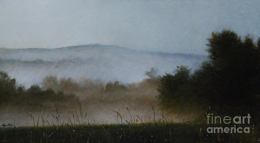 Misty Morning Painting - Berkshire Morning Mist by Larry Preston