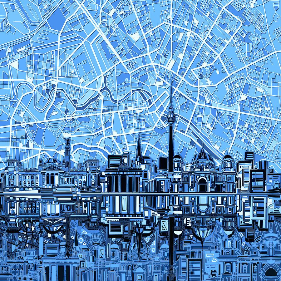 Berlin City Skyline Abstract Blue Digital Art