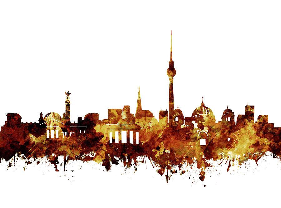 Berlin City Skyline Brown Digital Art