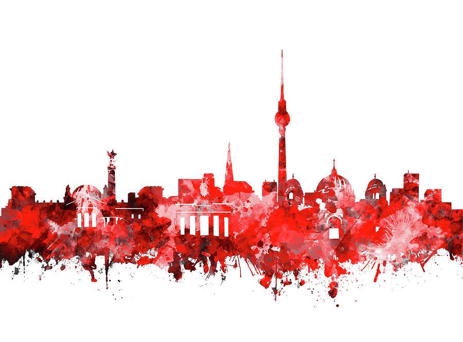 Berlin City Skyline Red Digital Art