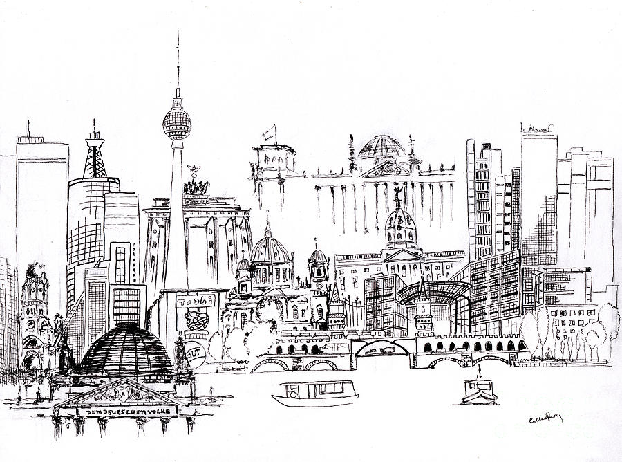 berlin medley monochrome drawing by callan percy. Black Bedroom Furniture Sets. Home Design Ideas