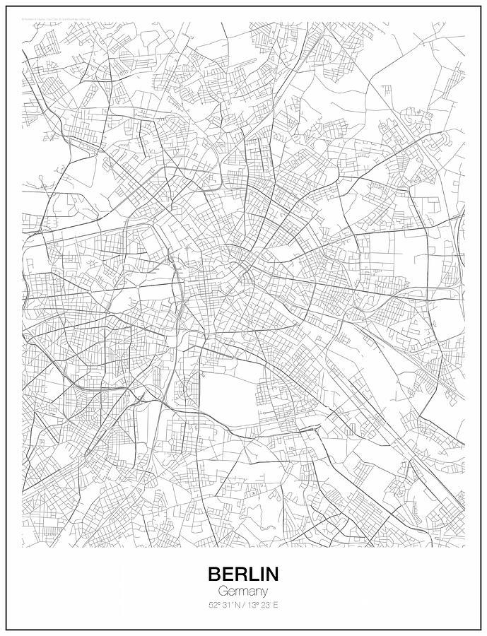 Berlin Minimalist Map Digital Art by Lori Hinner