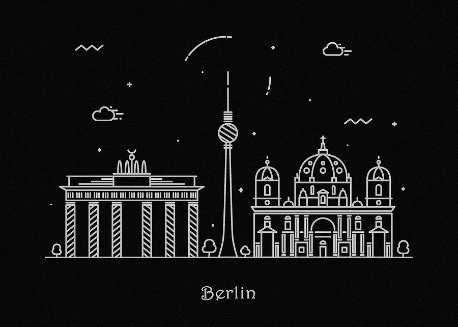 Berlin Drawing - Berlin Skyline Travel Poster by Inspirowl Design