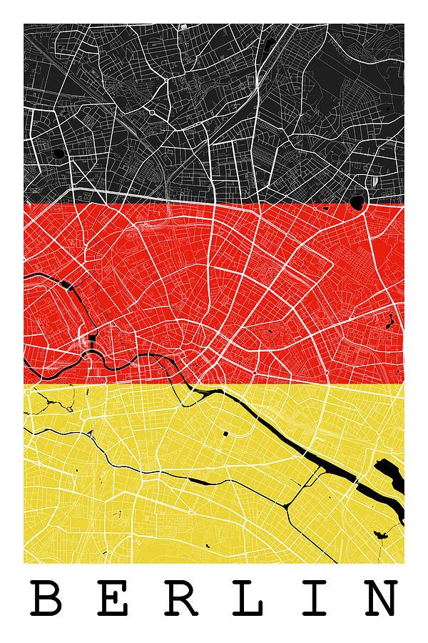 Berlin Street Map - Berlin Germany Road Map Art On German Flag ...