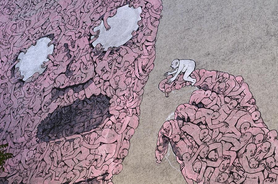 Berlin Photograph - Berlin Streetart Detail Of A Mural In Kreuzberg by Urs Schweitzer